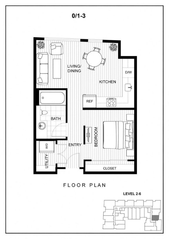 BLU Bellevue Apartments 0x1 3 Floor Plan