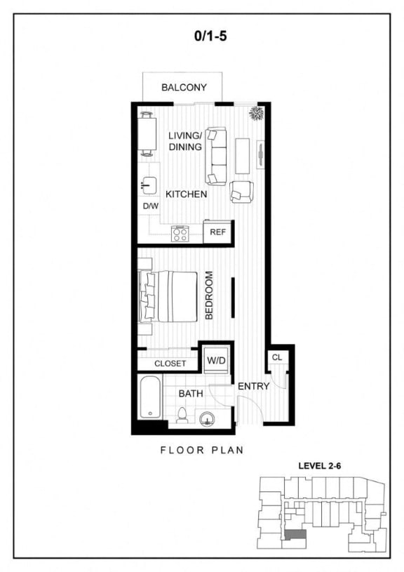 BLU Bellevue Apartments 0x1 5 Floor Plan