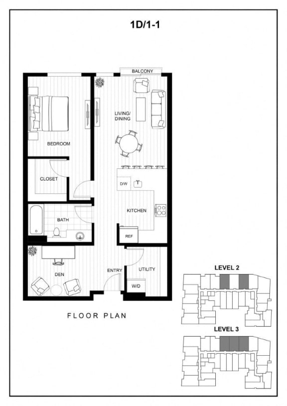BLU Bellevue Apartments 1D 1 Floor Plan