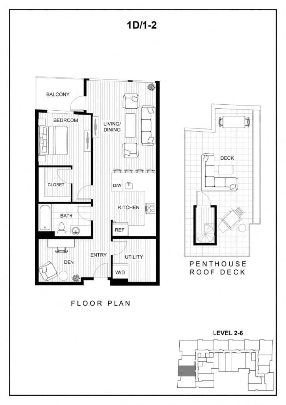 BLU Bellevue Apartments 1D 2 Floor Plan