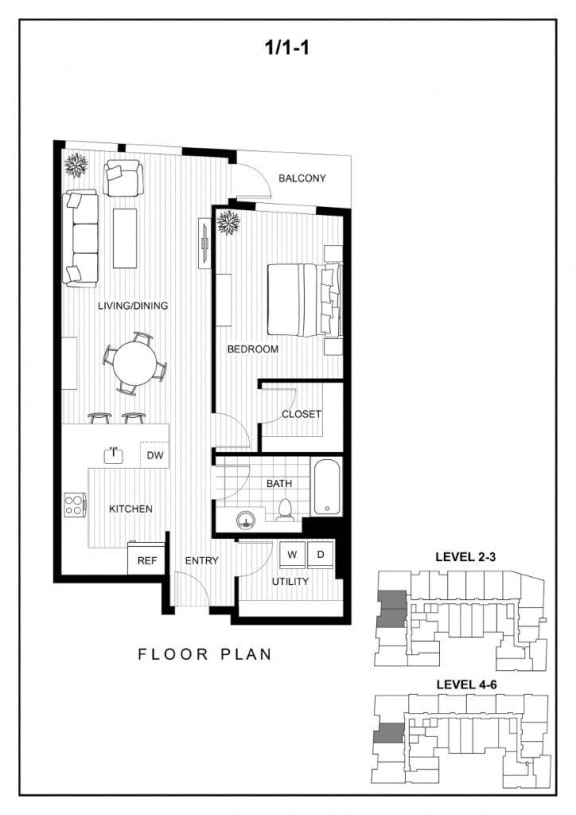 BLU Bellevue Apartments 1x1 1 Floor Plan