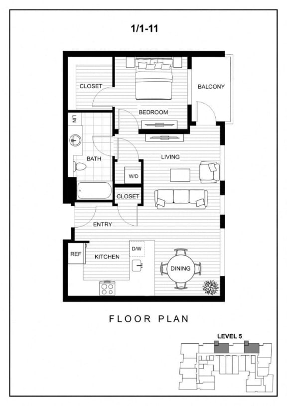 BLU Bellevue Apartments 1x1 11 Floor Plan