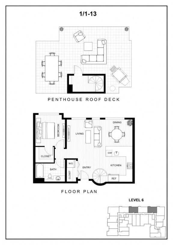BLU Bellevue Apartments 1x1 13 Floor Plan