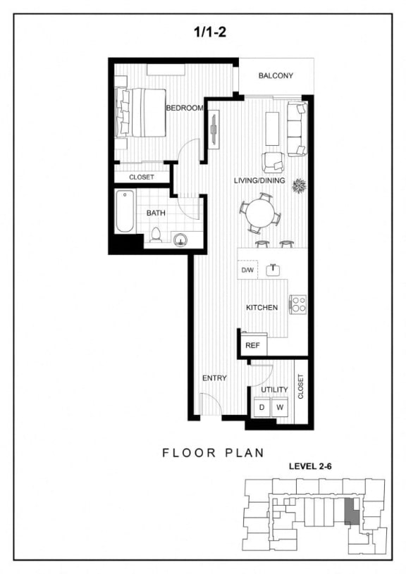 BLU Bellevue Apartments 1x1 2 Floor Plan