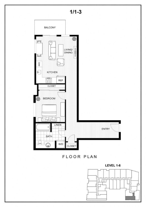 BLU Bellevue Apartments 1x1 3 Floor Plan