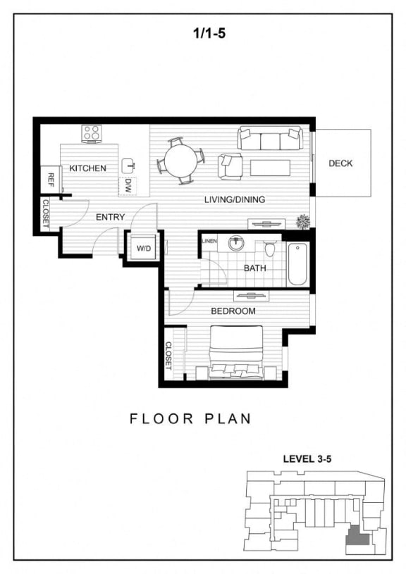 BLU Bellevue Apartments 1x1 5 Floor Plan