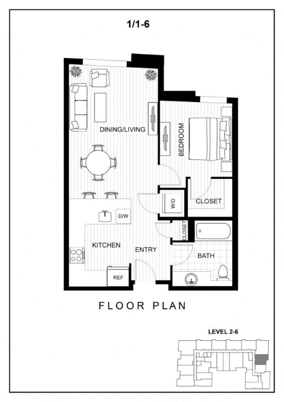BLU Bellevue Apartments 1x1 6 Floor Plan