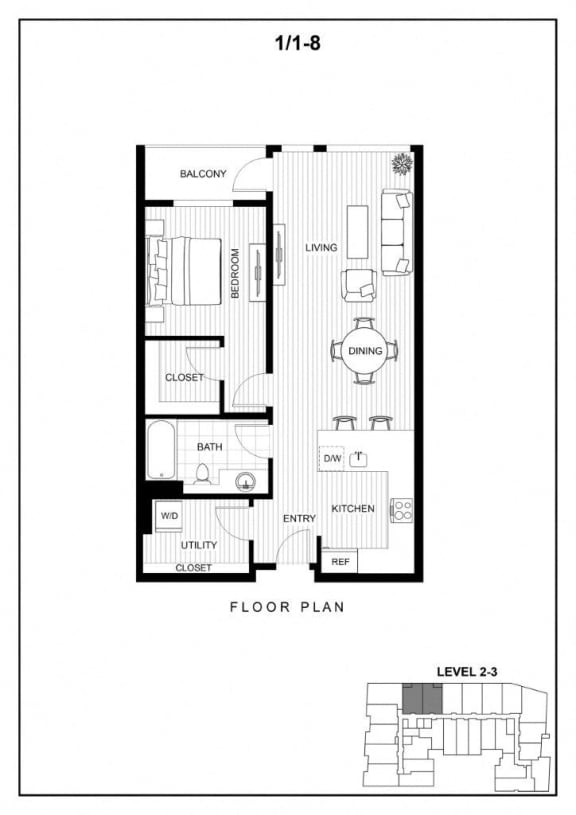 BLU Bellevue Apartments 1x1 8 Floor Plan