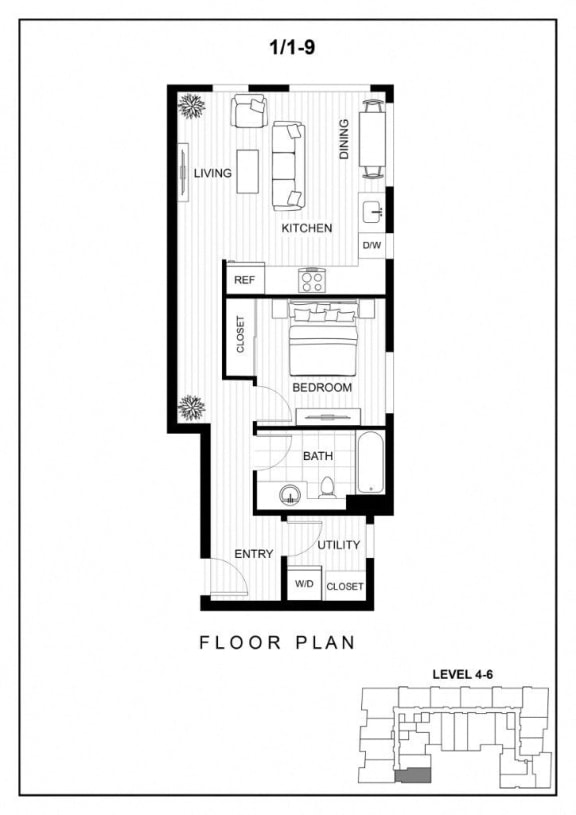 BLU Bellevue Apartments 1x1 9 Floor Plan