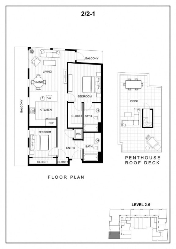 BLU Bellevue Apartments 2x2 1 Floor Plan