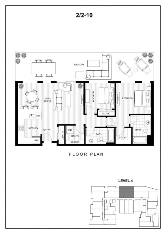 BLU Bellevue Apartments 2x2 10 Floor Plan