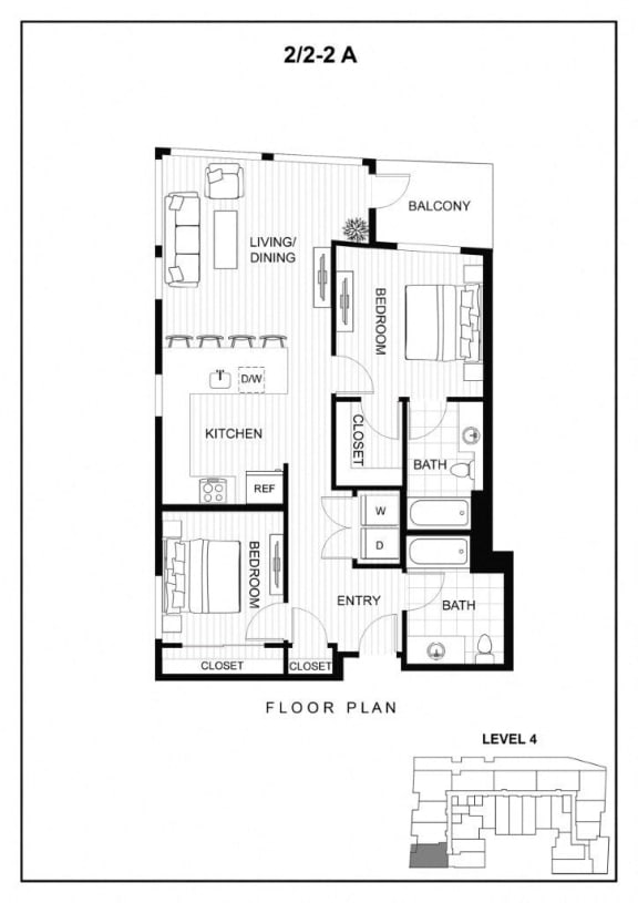 BLU Bellevue Apartments 2x2 2 A Floor Plan