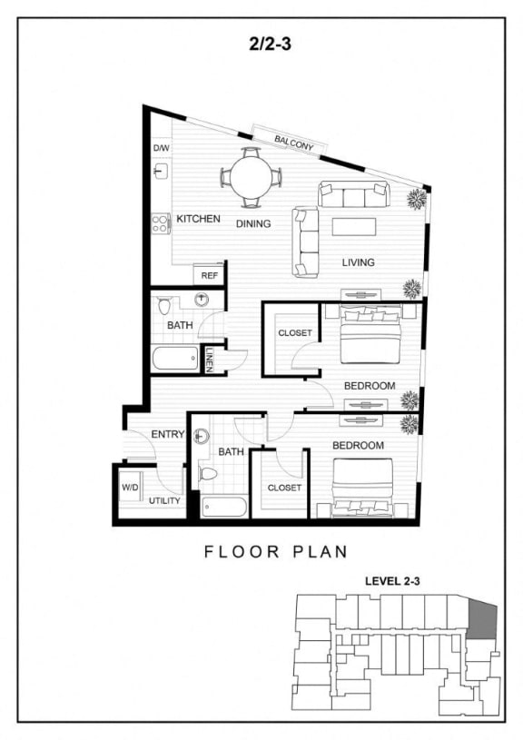 BLU Bellevue Apartments 2x2 3 Floor Plan
