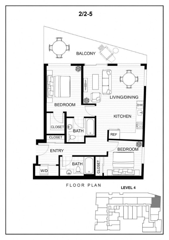 BLU Bellevue Apartments 2x2 5 Floor Plan