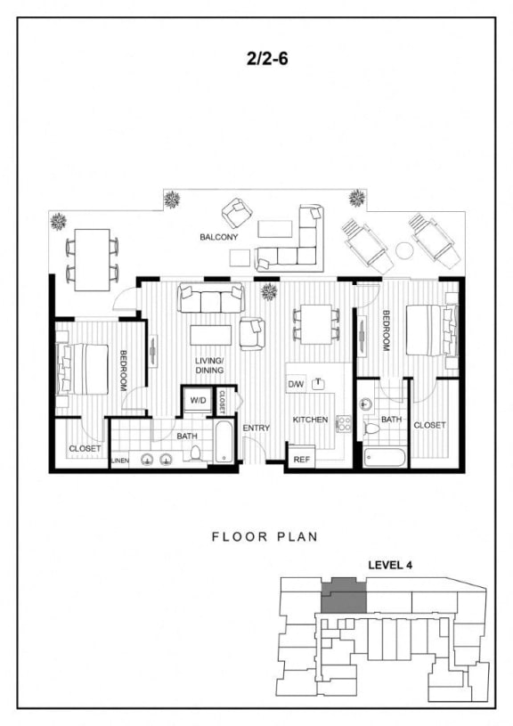 BLU Bellevue Apartments 2x2 6 Floor Plan