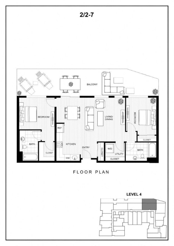 BLU Bellevue Apartments 2x2 7 Floor Plan