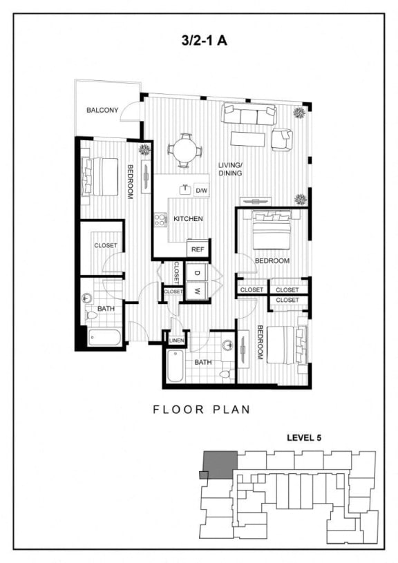 BLU Bellevue Apartments 3x2 1 A Floor Plan