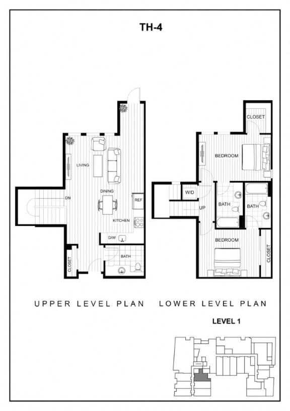 BLU Bellevue Apartments TH 4 Floor Plan