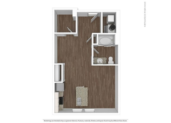 Studio Floor Plan at The Ivy at Berlin Place, South Bend, IN, 46601
