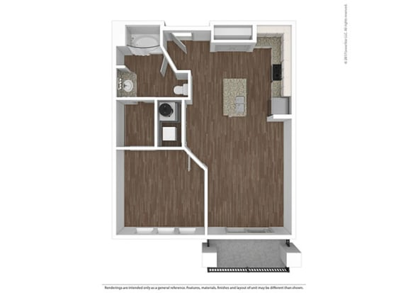 1 Bed 1 Bath Floor Plan at The Ivy at Berlin Place, South Bend, IN