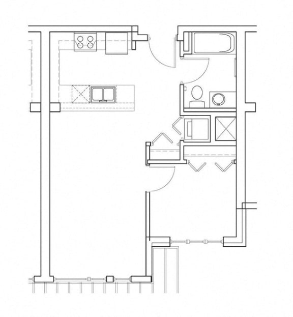 Recapture – 1 Bedroom 1 Bath Floor Plan Layout – 585 Square Feet