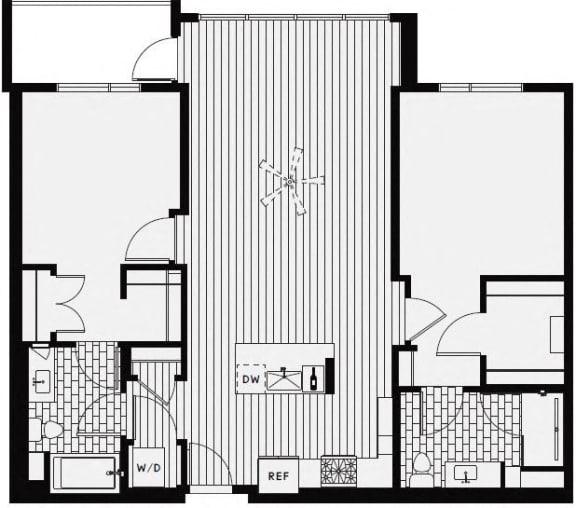 C10 – 2 Bedroom 2 Bath Floor Plan Layout – 1233 Square Feet