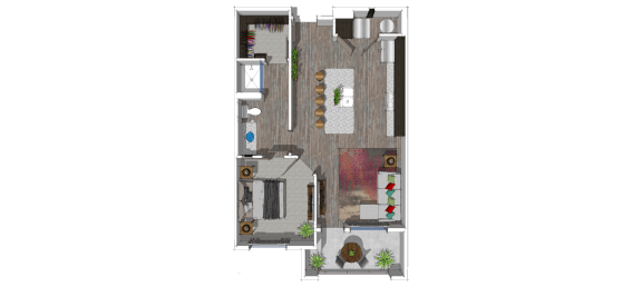 two bedroom two bathroom at The District at Scottsdale_luxury_apartments