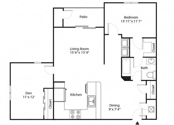 maple 2 bedroom 1 bathroom floor plan