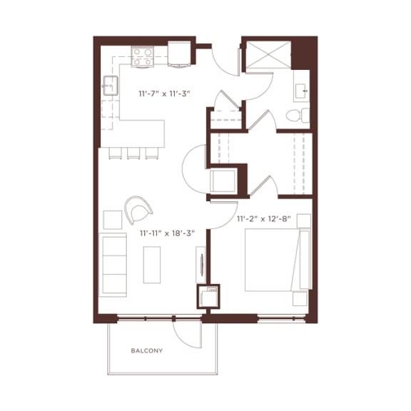 Floor Plan  a2b Floorplan at North+Vine, Chicago, 60610