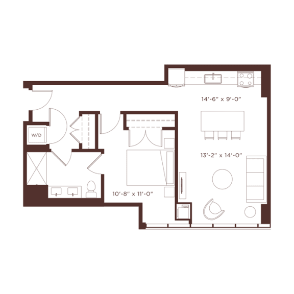 a3 Floorplan at North+Vine, Chicago, IL, 60610