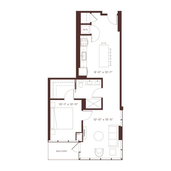 Floor Plan  a6 Floorplan at North+Vine, Chicago, Illinois