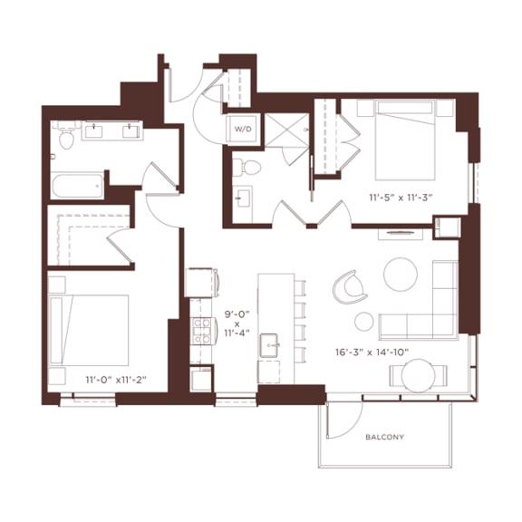 Floor Plan  b1 Floorplan at North+Vine, Chicago