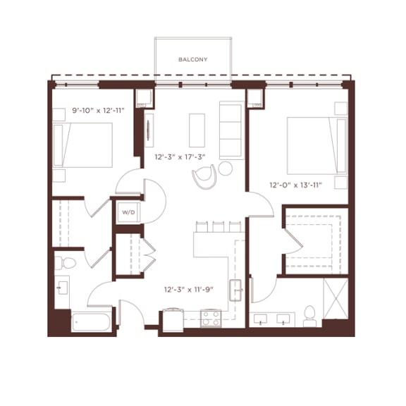 Floor Plan  b2b Floorplan at North+Vine, Illinois, 60610
