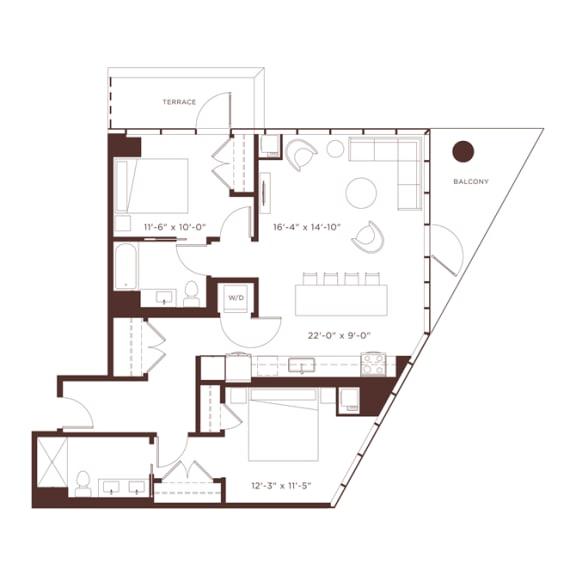 b3t Floorplan at North+Vine, Chicago, 60610