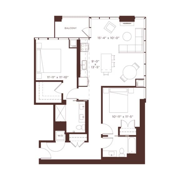 Floor Plan  16 floorplan at North+Vine, Chicago, Illinois