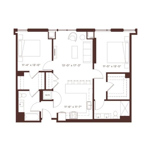 Floor Plan  21 floorplan at North+Vine, Chicago, IL