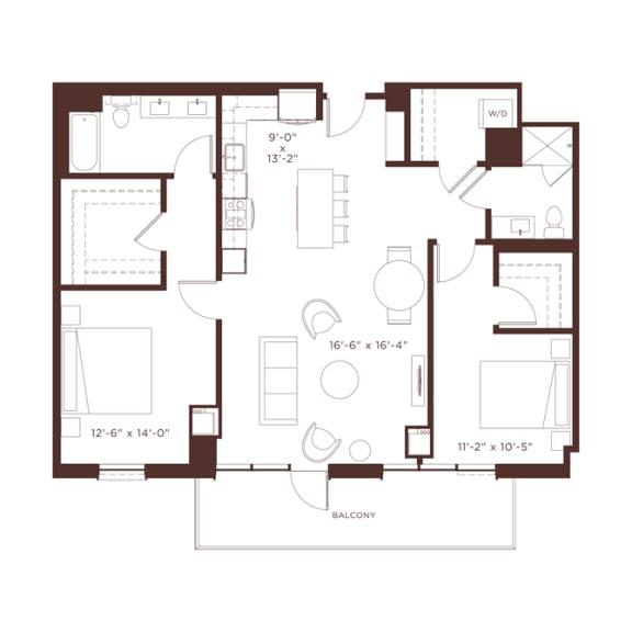 Floor Plan  23 floorplan at North+Vine, Chicago, Illinois