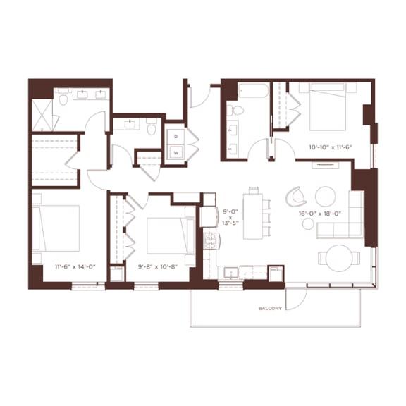 Floor Plan  26 floorplan at North+Vine, Illinois, 60610