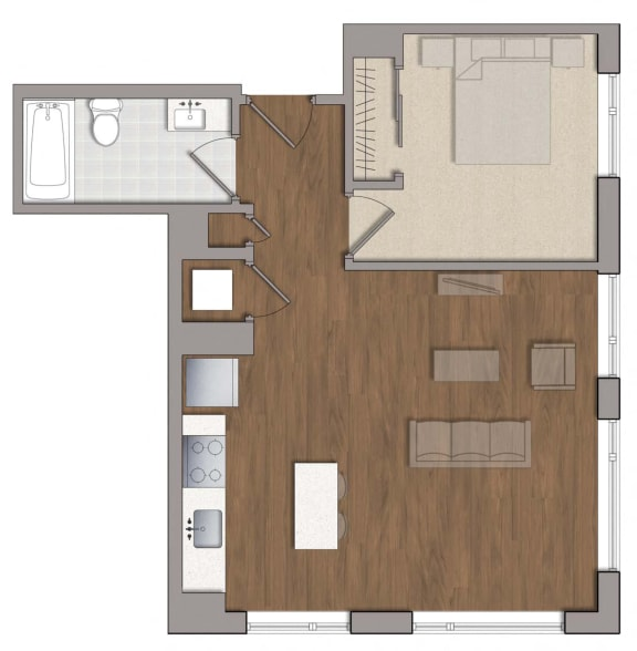 A3 Floor Plan at The George, Wheaton, MD