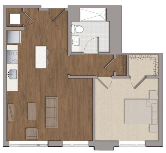 A4 1 Bed 1 Bath Floor Plan Layout at The George, Wheaton