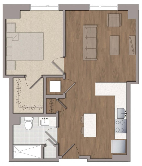 A5 Floor Plan at The George, Maryland, 20902