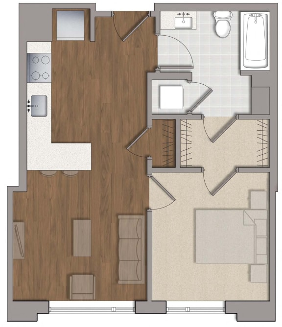 A6 Floor Plan Layout at The George, Wheaton, MD