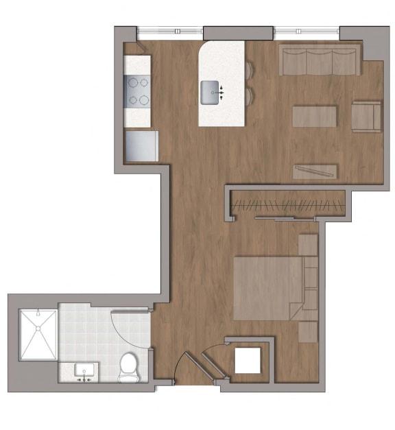 S1 Studio Floor Plan at The George, Wheaton, Maryland