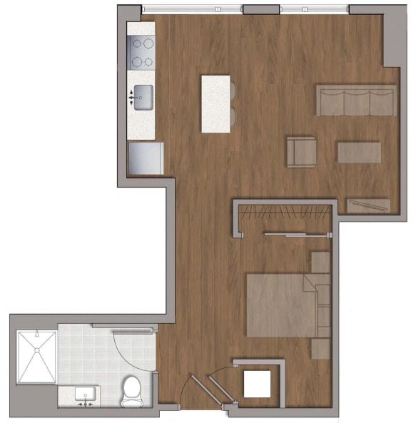 S1 Studio Floor Plan Layout at The George, Wheaton