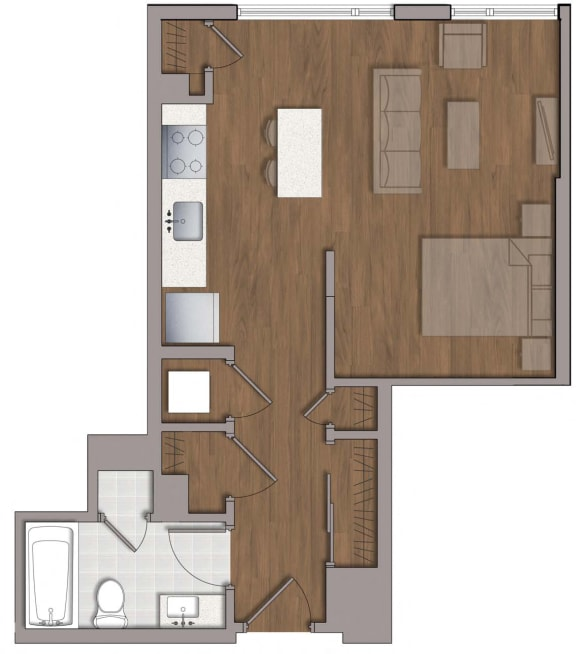 S5 Studio Floor Plan Layout at The George, Wheaton, MD