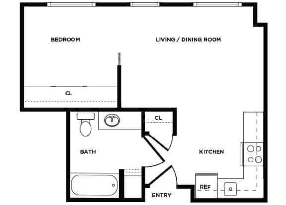 Floor Plan  A2 floor plan at Boardwalk Apartments