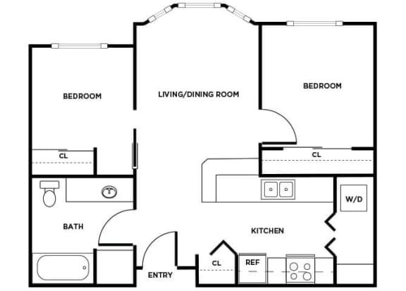 Floor Plan  B02 floor plan at Boardwalk Apartments