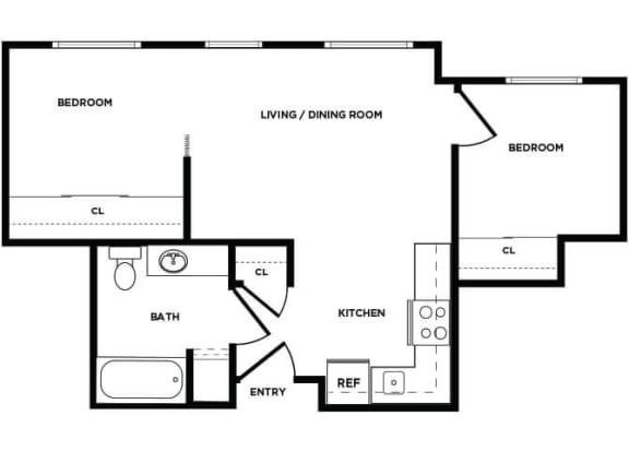 Floor Plan  B1 floor plan at Boardwalk Apartments