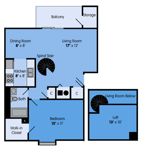THE ASH LOFT Floor Plan at Woodbridge Apartments, Louisville, KY