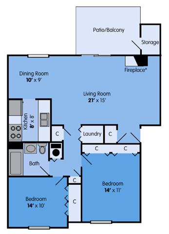 THE ASPEN Floor Plan at Woodbridge Apartments, Louisville